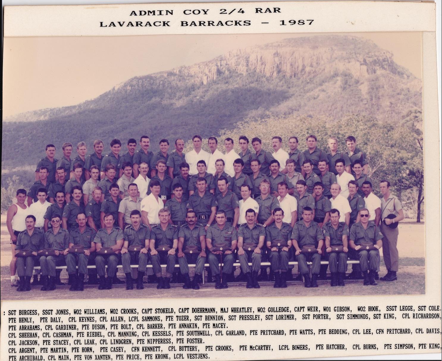 Admin Coy 1987