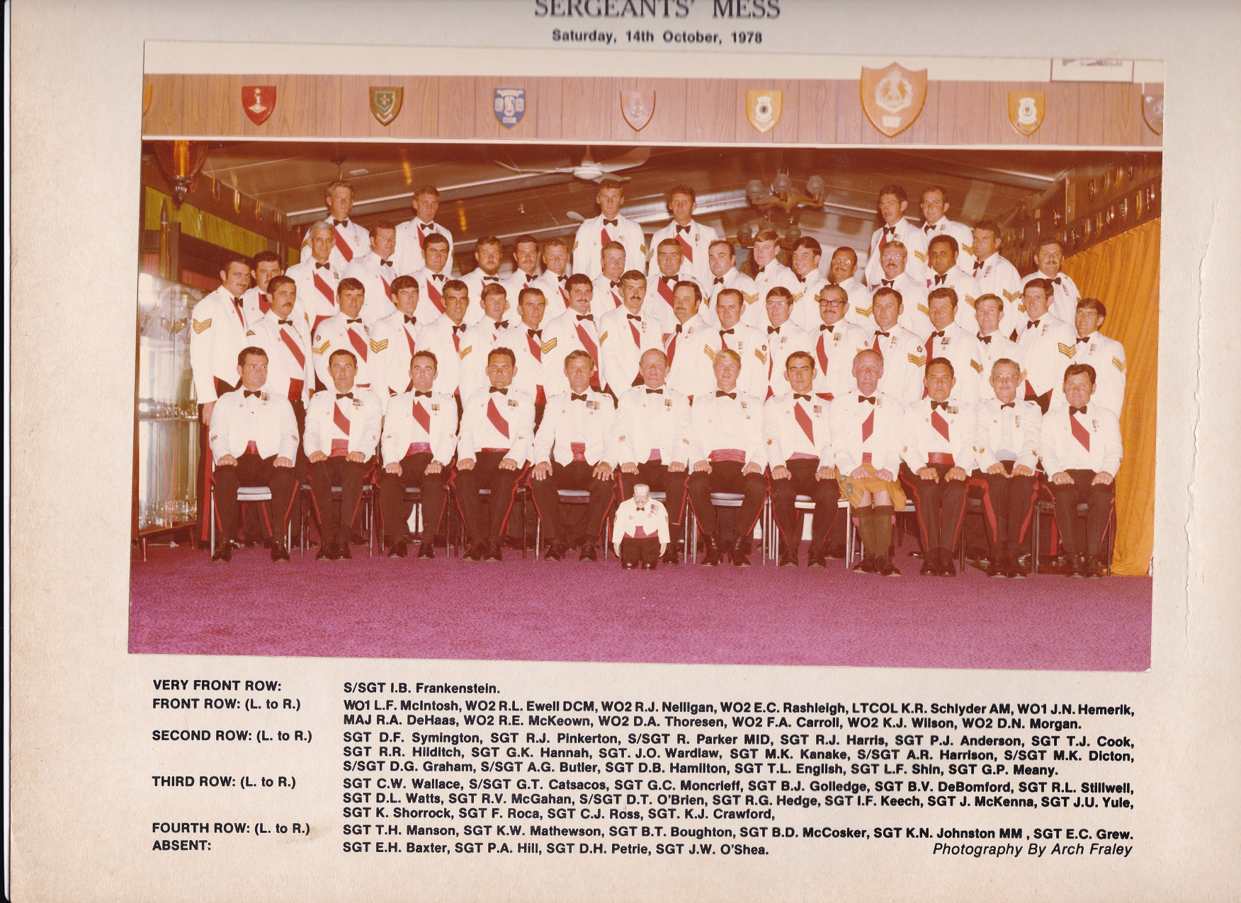 SGTS Mess 1978